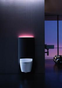 Komfortpaket von Geberit: Das elegante Sanitärmodul Monolith Plus passt perfekt zum schlichten Dusch-WC Aquaclean Sela.